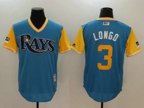 Tampa Bay Rays 3 Evan Longoria Longo Majestic Light Blue 2018 Players Weekend Authentic Jersey