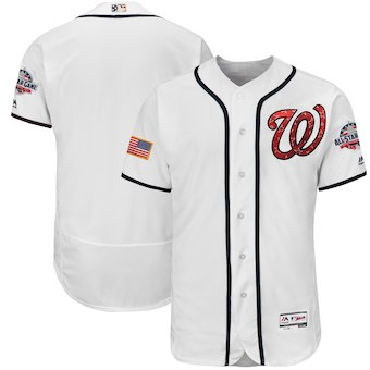 Washington Nationals Majestic Blank White 2018 Stars & Stripes Flex Base Team Jersey