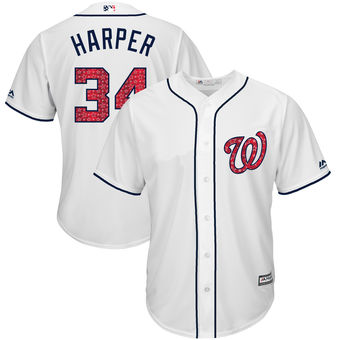 Washington Nationals 34 Bryce Harper Majestic White 2018 Stars & Stripes Cool Base Player Jersey