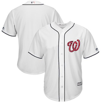 Washington Nationals Majestic Blank White 2018 Stars & Stripes Cool Base Team Jersey