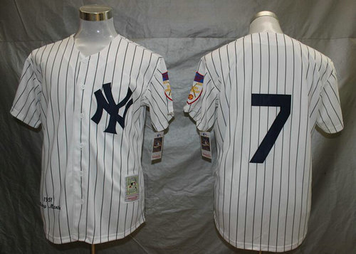 Yankees 7 Mickey Mantle White Mitchell And Ness 1951 Throwback Stitched MLB Jersey