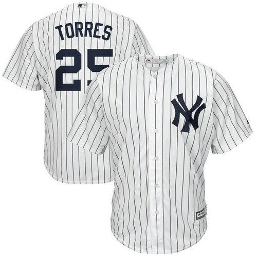 Yankees 25 Gleyber Torres White Cool Base Jersey