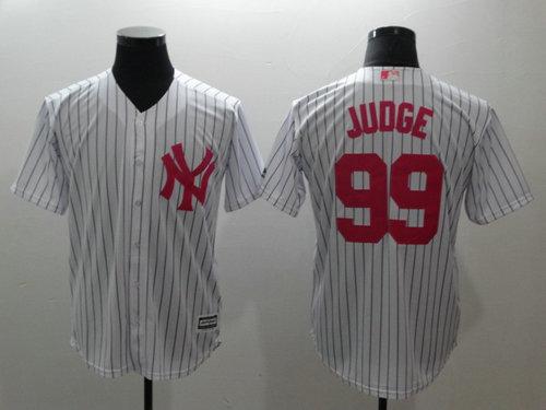 Yankees 99 Aaron White Pink Cool Base Jersey