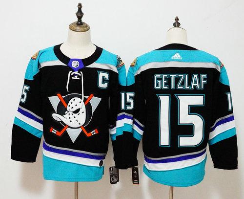 Men's Anaheim Ducks #15 Ryan Getzlaf adidas Black Alternate Authentic Player Jersey