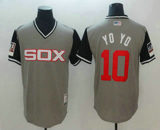 Men's Chicago White Sox #10 Yoan Moncada Yoyo Gray-Black 2018 Players' Weekend Authentic Jersey