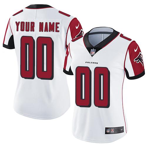 Women's Nike Customized NFL Atlanta Falcons Road White Vapor Untouchable Limited Jersey
