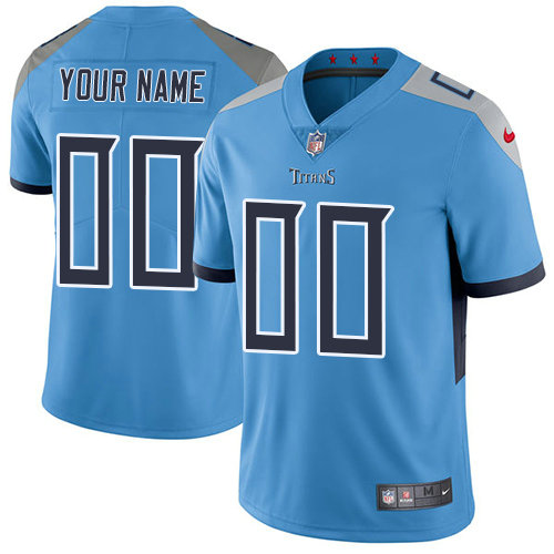 Men's Nike Tennessee Titans Light Blue Alternate Customized Vapor Untouchable Limited NFL Jersey
