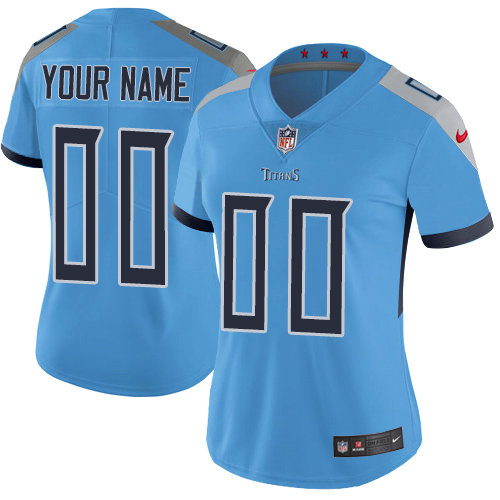 Women's Nike Tennessee Titans Light Blue Alternate Customized Vapor Untouchable Limited NFL Jersey
