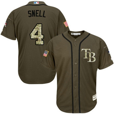 Tampa Bay Rays #4 Blake Snell Green Salute to Service Stitched Baseball Jersey
