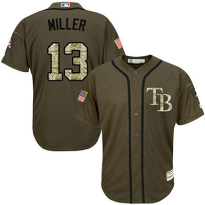 Tampa Bay Rays #13 Brad Miller Green Salute to Service Stitched Baseball Jersey