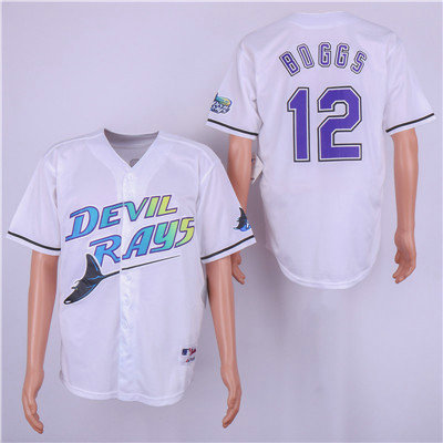Tampa Bay Rays #12 Wade Boggs White Cooperstown Collection Jersey