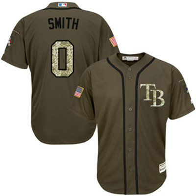 Tampa Bay Rays #0 Mallex Smith Green Salute to Service Stitched Baseball Jersey