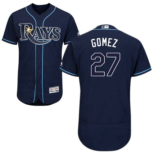 Tampa Bay Rays #27 Carlos Gomez Dark Blue Flexbase Authentic Collection Stitched Baseball Jersey