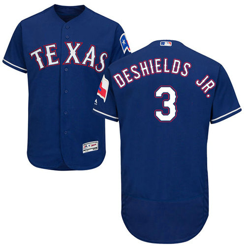 Texas Rangers #3 Delino DeShields Jr. Blue Flexbase Authentic Collection Stitched Baseball Jersey