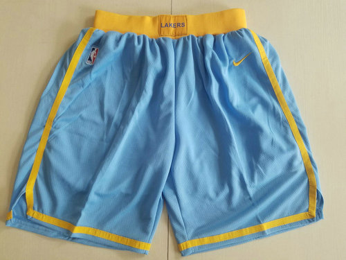 Men's Los Angeles Lakers Nike Light Blue Swingman Basketball Shorts