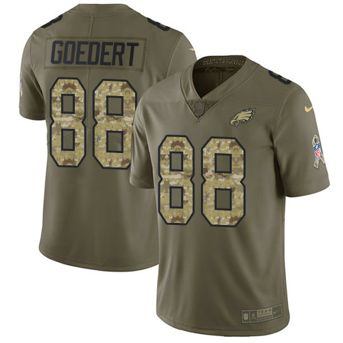 Nike Philadelphia Eagles #88 Dallas Goedert Olive Camo Stitched NFL Limited 2017 Salute To Service Jersey