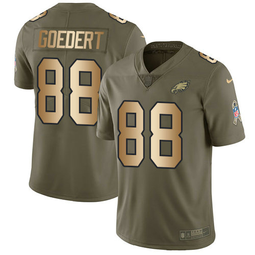Nike Philadelphia Eagles #88 Dallas Goedert Olive Gold Stitched NFL Limited 2017 Salute To Service Jersey