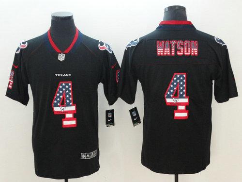 Nike Houston Texans #4 Deshaun Watson Black USA Flag Fashion Color Rush Limited Jersey