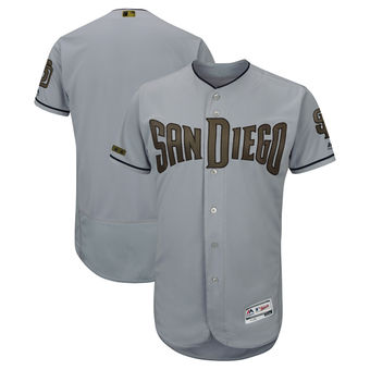 Men's San Diego Padres Majestic Gray 2018 Memorial Day Authentic Collection Flex Base Team Custom Jersey