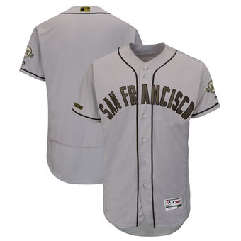 Men's San Francisco Giants Majestic Gray 2018 Memorial Day Authentic Collection Flex Base Team Custom Jersey