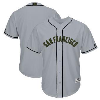 Men's San Francisco Giants Majestic Gray 2018 Memorial Day Cool Base Team Custom Jersey
