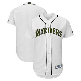 Men's Seattle Mariners Majestic White 2018 Memorial Day Cool Base Team Custom Jersey