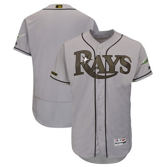 Men's Tampa Bay Rays Majestic Gray 2018 Memorial Day Authentic Collection Flex Base Team Custom Jersey