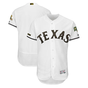 Men's Texas Rangers Majestic White 2018 Memorial Day Authentic Collection Flex Base Team Custom Jersey