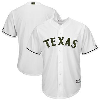 Men's Texas Rangers Majestic White 2018 Memorial Day Cool Base Team Custom Jersey