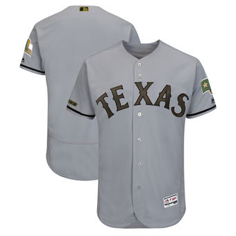Men's Texas Rangers Majestic Gray 2018 Memorial Day Authentic Collection Flex Base Team Custom Jersey