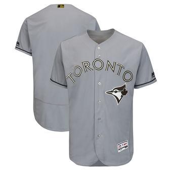 Men's Toronto Blue Jays Majestic Gray 2018 Memorial Day Authentic Collection Flex Base Team Custom Jersey