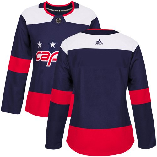 Women's Adidas Washington Capitals Blank Navy Authentic 2018 Stadium Series Stitched NHL Custom Jersey