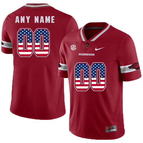 Arkansas Razorbacks Red Men's College Football USA Flags Customized Jersey