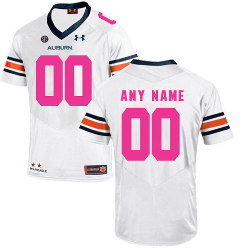 Auburn Tigers White Men's Customized 2018 Breast Cancer Awareness College