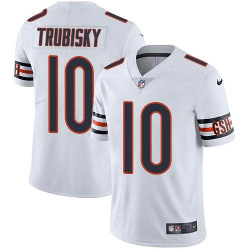 Men's Nike Chicago Bears #10 Mitchell Trubisky White Stitched NFL Vapor Untouchable Limited Jersey