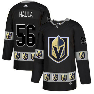 Men's Vegas Golden Knights #56 Erik Haula Black Team Logos Fashion Adidas Jersey