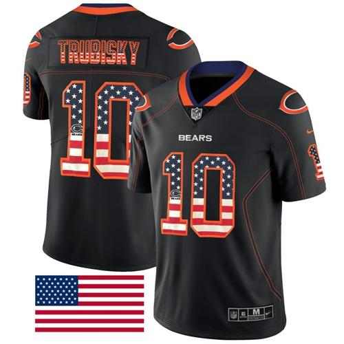 Nike Bears #10 Mitchell Trubisky Black Men's Stitched NFL Limited Rush USA Flag Jersey