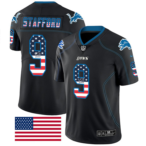 Nike Lions #9 Matthew Stafford Black Men's Stitched NFL Limited Rush USA Flag Jersey