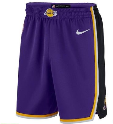 Men's Los Angeles Lakers Purple 2019 Nike Swingman Stitched NBA Shorts