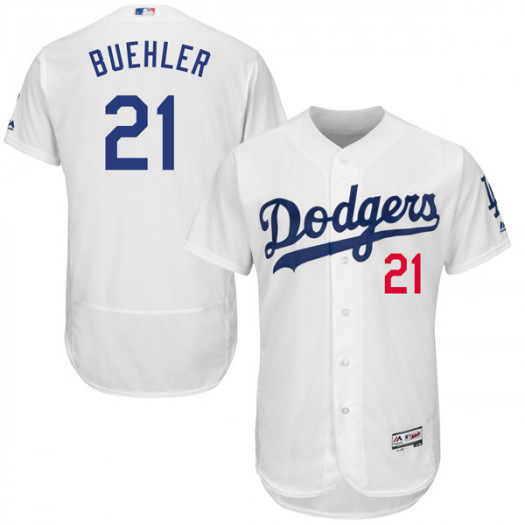 Men's Los Angeles Dodgers #21 Walker Buehler Player Authentic White Flex Base Home Collection Jersey