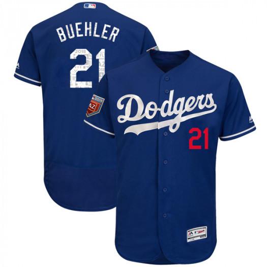 Men's Los Angeles Dodgers #21 Walker Buehler Player Authentic Royal Flex Base 2018 Spring Training Jersey