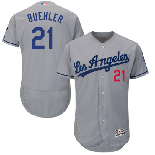 Men's Los Angeles Dodgers #21 Walker Buehler Player Authentic Gray Flex Base Road Collection Jersey