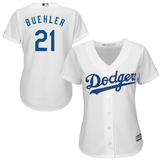 Women's Los Angeles Dodgers #21 Walker Buehler Player Authentic White Cool Base Home Jersey