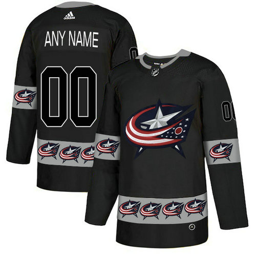 Men's Columbus Blue Jackets Custom Black Team Logos Fashion Adidas Jersey