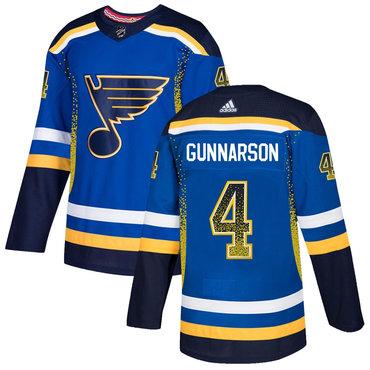 Men's St. Louis Blues #4 Carl Gunnarson Royal Drift Fashion Adidas Jersey