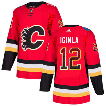 Men's Calgary Flames #12 Jarome Red Drift Fashion Adidas Jersey