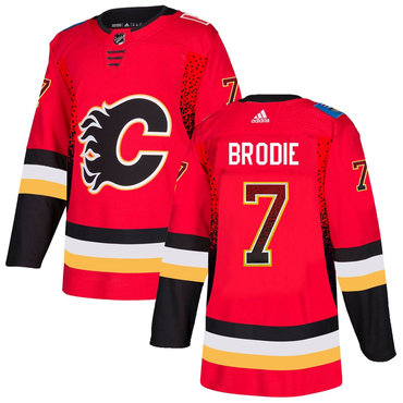 Men's Calgary Flames #7 T.J. Brodie Red Drift Fashion Adidas Jersey
