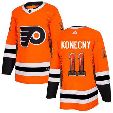 Men's Philadelphia Flyers #11 Travis Orange Drift Fashion Adidas Jersey