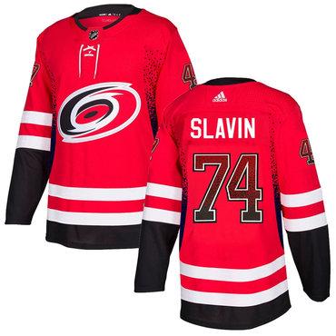 Men's Carolina Hurricanes #74 Jaccob Slavin Red Drift Fashion Adidas Jersey