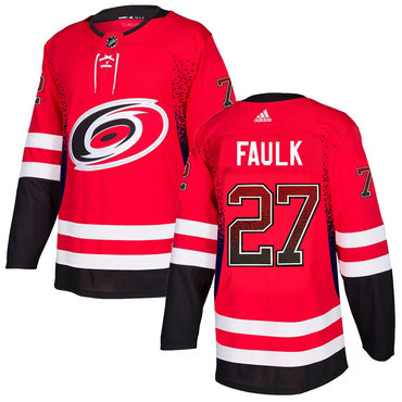 Men's Carolina Hurricanes #27 Justin Faulk Red Drift Fashion Adidas Jersey